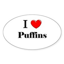 I Love Puffins Oval Decal