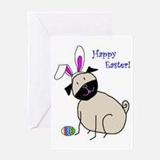 Easter StickPug (Fawn) Greeting Card