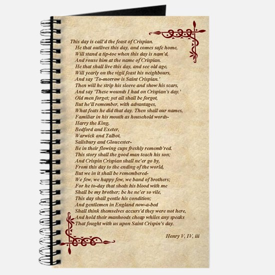 St. Crispin's Day Speech Journal, Will Shakespeare