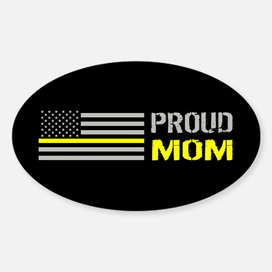 U.S. Flag Yellow Line: Proud Mom (B Sticker (Oval)