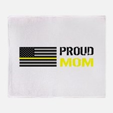 U.S. Flag Yellow Line: Proud Mom (Wh Throw Blanket