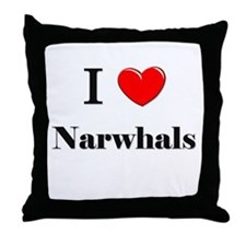 I Love Narwhals Throw Pillow