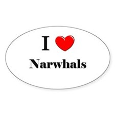 I Love Narwhals Oval Decal