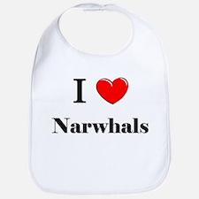 I Love Narwhals Bib