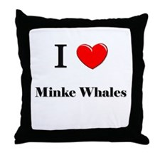 I Love Minke Whales Throw Pillow