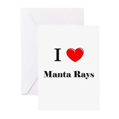 I Love Manta Rays Greeting Cards (Pk of 10)