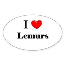 I Love Lemurs Oval Decal