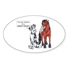 N Great Dane & Horse Oval Decal