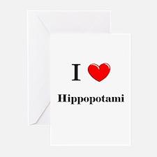 I Love Hippopotami Greeting Cards (Pk of 10)