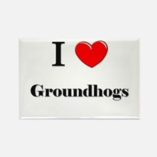 I Love Groundhogs Rectangle Magnet
