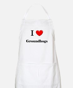 I Love Groundhogs BBQ Apron