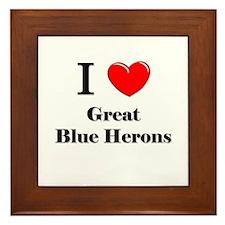 I Love Great Blue Herons Framed Tile