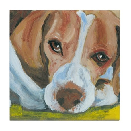 Waiting Beagle Tile Coaster