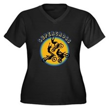 Supercross Women's Plus Size V-Neck Dark T-Shirt