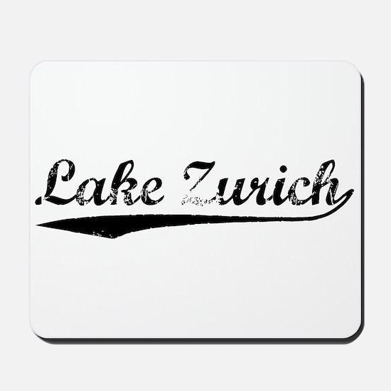 Vintage Lake Zurich (Black) Mousepad