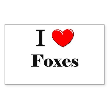 I Love Foxes Rectangle Sticker