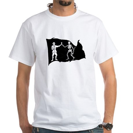Black Bart Roberts Pirate White T-Shirt