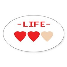 LIFE (hearts) - Oval Decal
