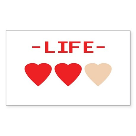 LIFE (hearts) - Rectangle Sticker