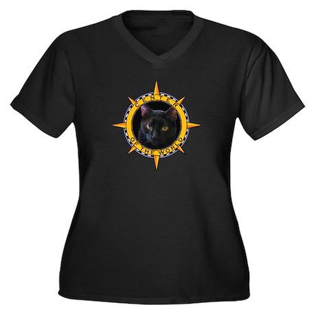 Black Cat Women's Plus Size V-Neck Dark T-Shirt