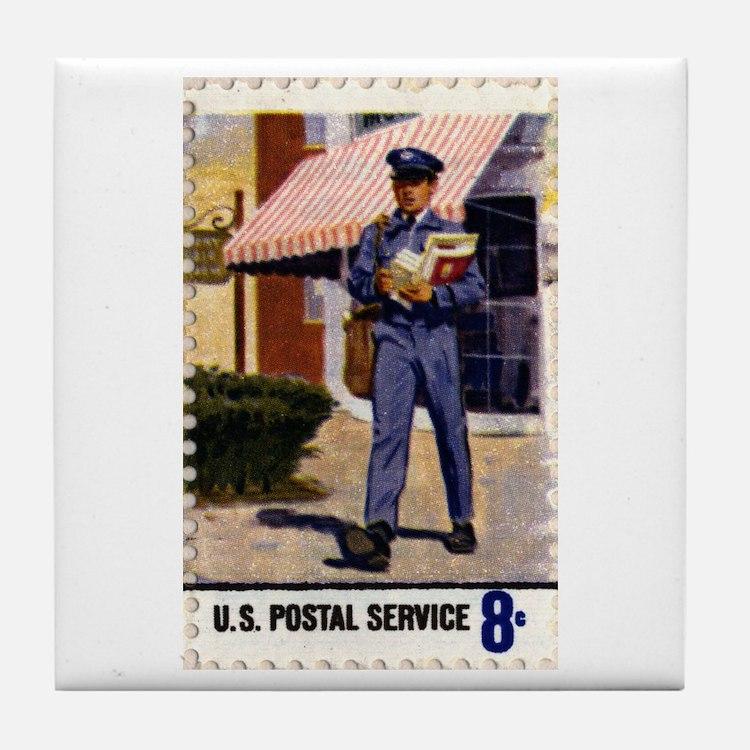Cute Mailman Tile Coaster