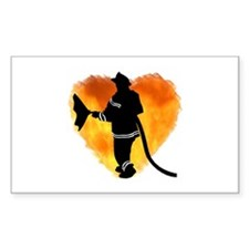 Firefighter and Flames Rectangle Decal