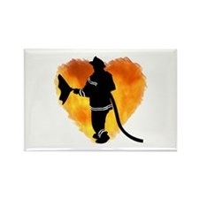 Firefighter and Flames Rectangle Magnet