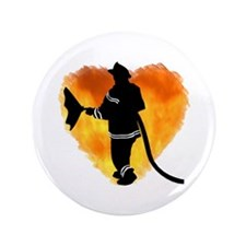 "Firefighter and Flames 3.5"" Button"