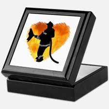Firefighter and Flames Keepsake Box