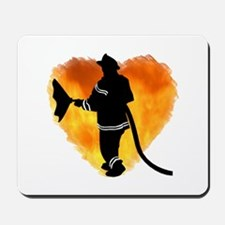 Firefighter and Flames Mousepad