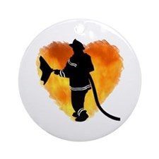 Firefighter and Flames Ornament (Round)