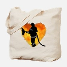 Firefighter and Flames Tote Bag
