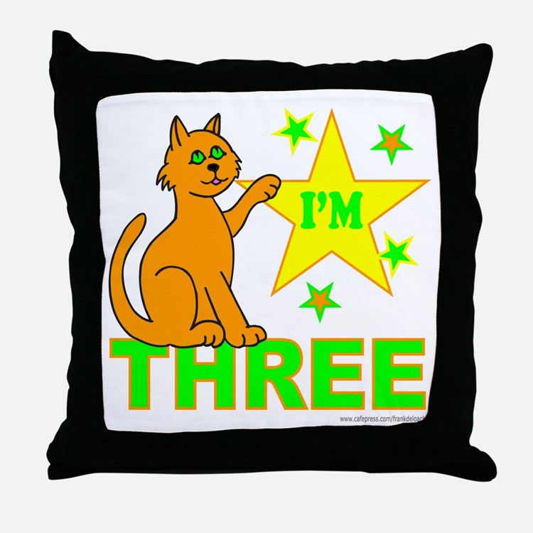 I'M THREE Throw Pillow