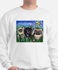 Happy Pekes under the smiling Sweatshirt