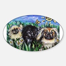Happy Pekes under the smiling Oval Decal