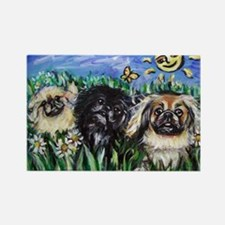 Happy Pekes under the smiling Rectangle Magnet