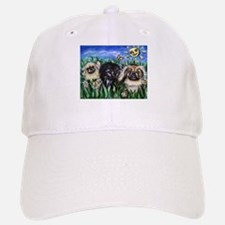 Happy Pekes under the smiling Baseball Baseball Cap