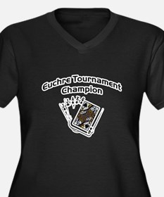 Euchre Tournament Women's Plus Size V-Neck Dark T-