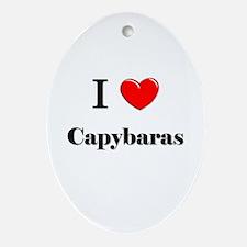 I Love Capybaras Oval Ornament