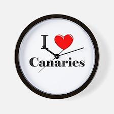 I Love Canaries Wall Clock