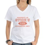 Property of Stick U Gymnastics V-Neck T-Shirt