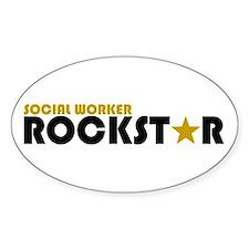 Social Worker Rockstar 2 Oval Decal