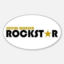 Social Worker Rockstar 2 Oval Decal
