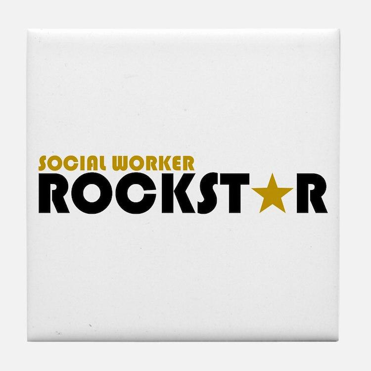 Social Worker Rockstar 2 Tile Coaster