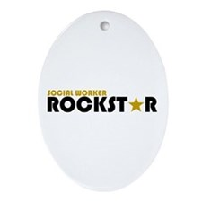 Social Worker Rockstar 2 Oval Ornament