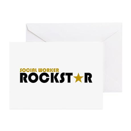 Social Worker Rockstar 2 Greeting Cards (Pk of 10)