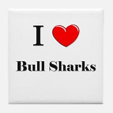 I Love Bull Sharks Tile Coaster