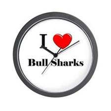 I Love Bull Sharks Wall Clock