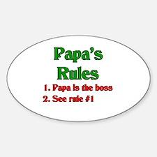 Italian Papa's Rules Oval Decal