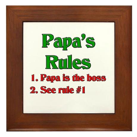 Italian Papa's Rules Framed Tile